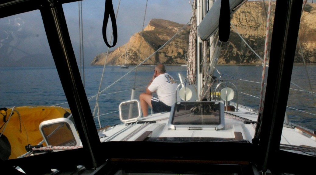 Sancerre lying to anchor at Yellowbanks anchorage, Santa Cruz Island on overnight charter