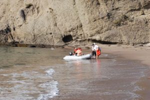 Getting ashore is usually very easy, But there is a very steep drop off just a few feet from the sand.
